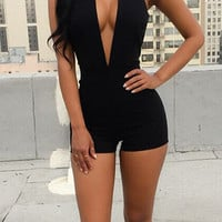 Black Deep V Neck Choker Neck Nightclub Romper 10326