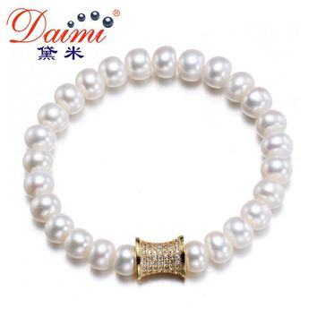 Fashion Pearl Bracelet Real Freshwater & Shinny Clasp Party Style Jewelry For Women