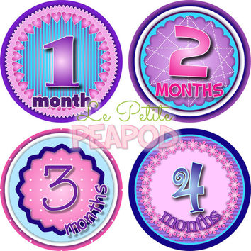 Monthy Baby Shirt Stickers - Pink Blue and Purple Sweetheart Design - Girl Monthly Baby Stickers