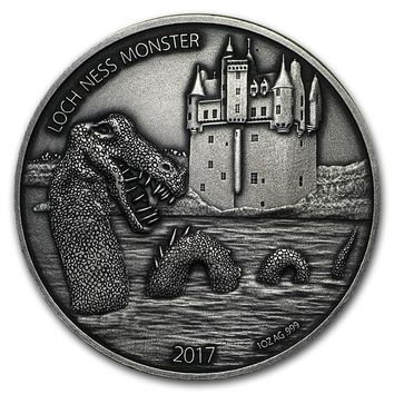 2017 Burkina Faso 1 oz Antique Silver Loch Ness Monster