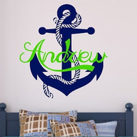 Boys Room, Anchor Decal, Vinyl Lettering, Vinyl Wall Art,Anchor, Nautical vinyl wall decals
