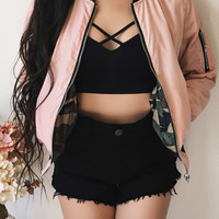 REVERSIBLE - Summer Night Mischief Bomber Jacket (PINK)