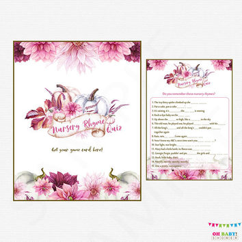Girl Pumpkin Baby Shower, Nursery Rhyme Quiz, Watercolor Baby Shower Games, Pink and Purple, Fall Floral Baby Shower Printable Download PPMK