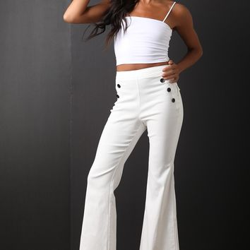 Button Accent High Waisted Flared Pants