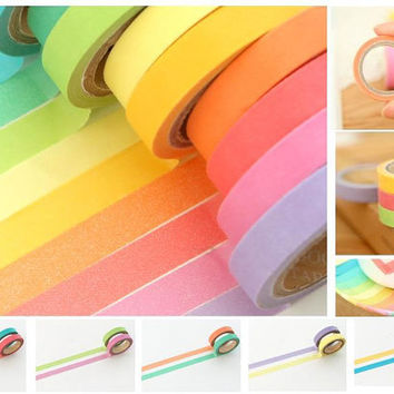 Washi Tape set Rainbow colorful Masking Tape sticker trim lace border ribbon deco special mail message board photo frame album