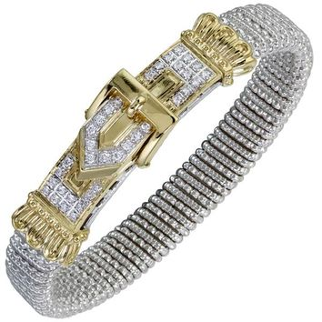 Vahan Sterling Silver & 14K Yellow Gold Diamond Buckle Bangle Bracelet