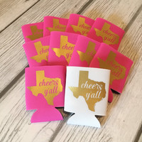 Cheers Y'all Texas Coozies