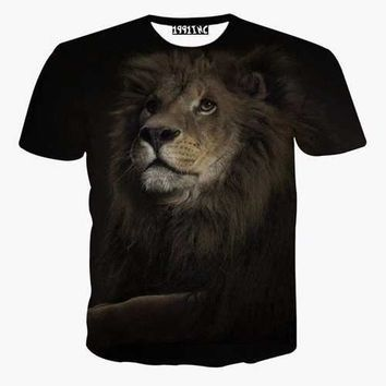 3D Lion Printed Casual T Shirt
