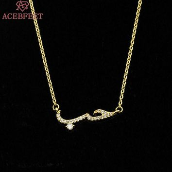 ACEBFEET Stainless Steel Chain Letter Charm Choker CZ Arabic Love Statement Necklace Women Jewelry Cubic Zirconia Colares