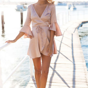 Pink V-Neck Wrapped Dress with Drawstring