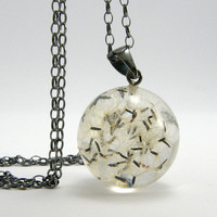 Black Dandelion Seeds Resin and Silver Necklace, Small Dandelion Seeds pendant with a Long Chain