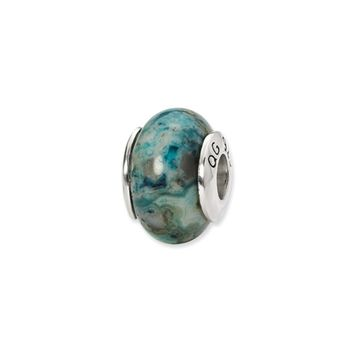 Blue Crazy Lace Agate Stone Bead & Sterling Silver Charm, 13mm