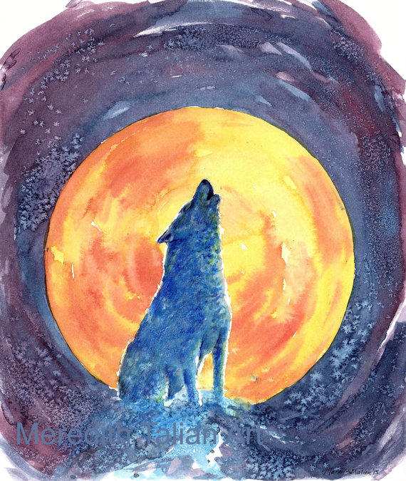 Howling Wolf Painting Original From Meredithtalianart On