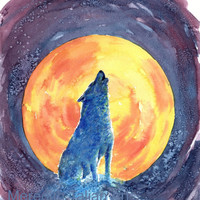 Howling Wolf Painting - Original Watercolor - 8x10 Print - Harvest Moon- Wolf Wall Art - Native American - Indian Art - Wolf Decor