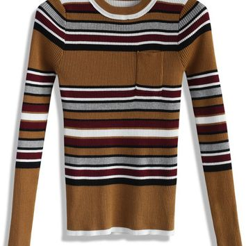 Cheerful Stripes Knitted Top in Tan