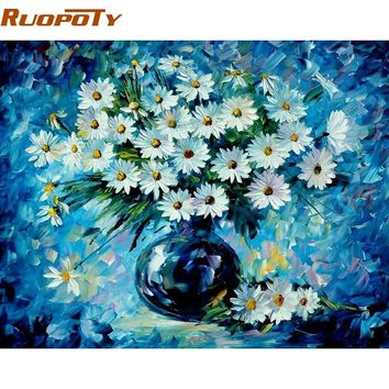 RUOPOTY Blue Flower DIY Painting By Numbers Handpainted Oil Painting Modern Abstract Wall Art Picture For Home Decoration 40x50