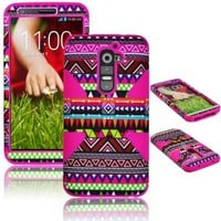 Bastex Heavy Duty Hybrid Case For LG G2 VS980 D800 Hot Pink Silicone / Multi Color Chevron Tribal Aztec Cover