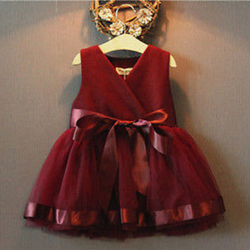 2016 New Kids Baby Princess Girls Dress Party Tulle Bow Gown Brief Cute Formal Fashion Bridesmaid Dresses 2 3 4 5 6 7 Years