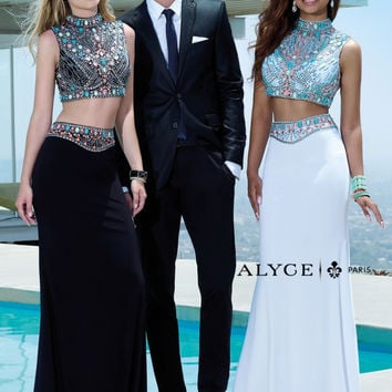 Alyce Paris 6372 Two-Piece Beaded High Neck Prom Dress