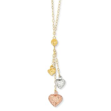 14K Tri Color Gold Tri-color Puff Heart Lariat with 2in ext Necklace 16 Inch