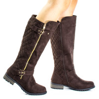 Mango23 Brown By Forever, Calf High Biker Boots, Quilted Panel, Stack Heel & Threaded Lug Sole