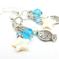 Shell Earrings, Star and Shell Earrings, Beach Theme Earrings, Ocean Jewelry, Dangle Earrings