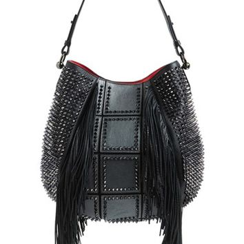 Christian Louboutin 'Lucky L' Studded Hobo with Fringe - Grey