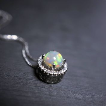 Ethiopian Fire Opal Necklace Sterling Silver , Dainty Opal Round Choker,   October Birthstone Halo CZ Pendant