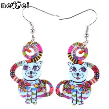 Newei Cat Earrings Long Dangle Earrings Acrylic Pattern New Fashion Animal Jewelry for Woman Girl Charm Statement Accessories