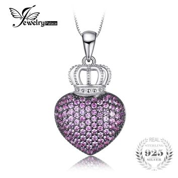 JewelryPalace Love Heart Crown 0.8ct Created Pink Sapphire Pave Pendant Necklace Black Gold Plated 925 Sterling Silver 18 Inche