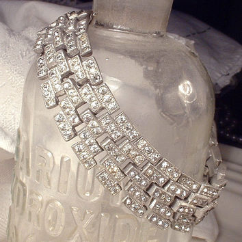 Authentic 1920s - 1930s Clear Pave Rhinestone Wide Link Bracelet, Antique Art Deco Silver Pot Metal Paste Clear Crystal Flapper Jewelry