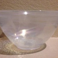 Artistic Accents Turkish Glass White Opalescent Cereal Bowls Set 4 Handcrafted