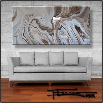 Resin Coated Abstract Original Modern Painting - 60 x 30 x 1.5 inch - ELOISExxx