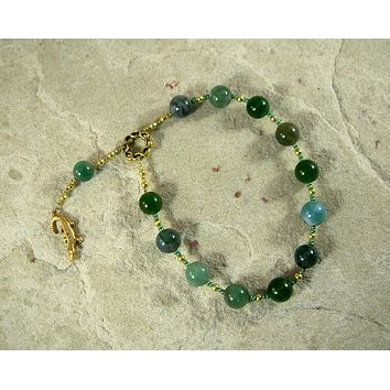 Sobek Pocket Prayer Beads in Moss Agate: Egyptian God of Fertility, Protection and the Military