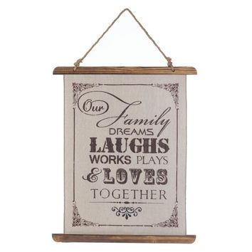 """Country Farmhouse """"Family Dreams Together"""" Linen Scroll Wall Decor"""