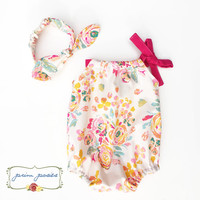 Baby Girl Outfit, Baby Girl Gift, Baby Girl Romper, Headband Set, Floral Baby Romper, Baby Photo Outfit, Bubble Romper, Summer Romper