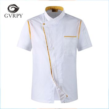 2018 New Men Women Oblique Collar Single Breasted Short Sleeves Spliced Kitchen Cuisine Bakery Work Uniforms Summer Chef Jackets