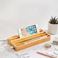 Kikkerland Design Wood Charging Station | Urban Outfitters Canada