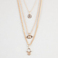 Full Tilt 3 Strand Peace/Evil Eye/Hamsa Hand Charm Necklace Gold One Size For Women 24274762101