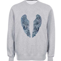 coldplay wing sweater Gray Sweatshirt Crewneck Men or Women for Unisex Size with variant colour