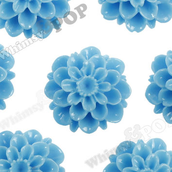 LIGHT BLUE 20mm Dahlia Chrysanthemum Flower Cabochons