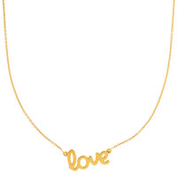 14K Yellow Gold Love Script Pendant On 18 Inch Necklace