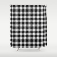 Sleepy Black and White Plaid Shower Curtain by RichCaspian