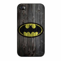Batman Logo On Wood iPhone 4 Case