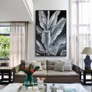 Modern art Abstract paintings on canvas original art black leaf acrylic painting wall pictures cuadros abstractos hand painted home decor