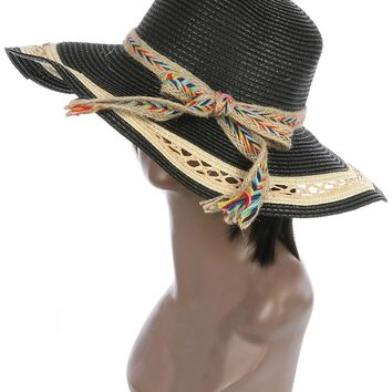 Black Braided Color Yarn Trim Floppy Straw Hat And Cap