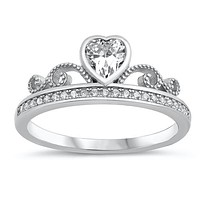Celtic 1CT Heart Cut Russian lab Diamond Claddagh Engagement Promise Ring