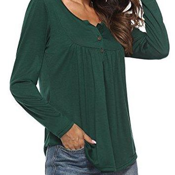 JoYang Womens Solid Color Fit Flare Long Sleeve Ruffle Button up Tunic Tops