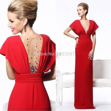 Straight Long Red Prom Dresses Sexy Cap Sleeve 2015 V Neck Beading Chiffon Dress to Party Special Occasion Dresses