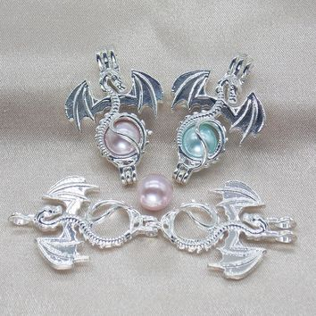 10pcs Bright Silver Flying Dragon Oyster Pearl Cage Jewelry Pendant Lockets for Perfume Essential Oil Diffuser Necklace Making